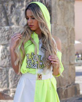 Vestido White and Green LB